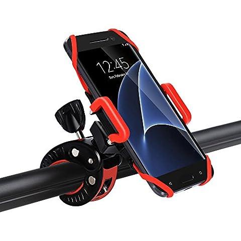 iCozzier supporto universale regolabile rotante basato sul manubrio per bici e bicicletta di montagna & supporto per motocicli per iPhone 7 6S plus 5S 5C, Galaxy S7 Edge S6 Edge , LG G5, HTC10, iOS, Android Smartphones, GPS e altri dispositivi compatibili (morsetto antiscivolo, rotazione di 360 gradi, cinturino di gomma)