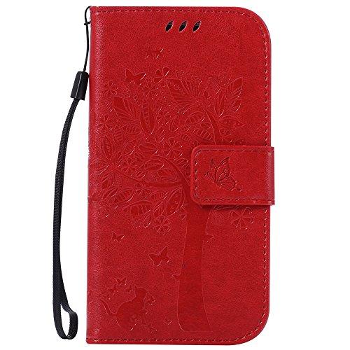 Jepson Samsung Galaxy S4 / GT-i9500 (5 pouces) coque , PU Cuir Portefeuille Etui Housse Case Cover , carte de crédit Fentes pour , L'utilisation de la technologie de pointe , gaufrage , Tree - Cat - Butterfly , idéal pour protéger votre téléphone ,