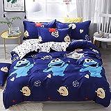 JFJWH Bettwäsche Bettbezug Set,Bettwäscheset aus Mikrofaser mit Zwei Bettbezügen4 Stück-F_Quilt_Cover_150 * 200cm_Sheets_200 * 230cm