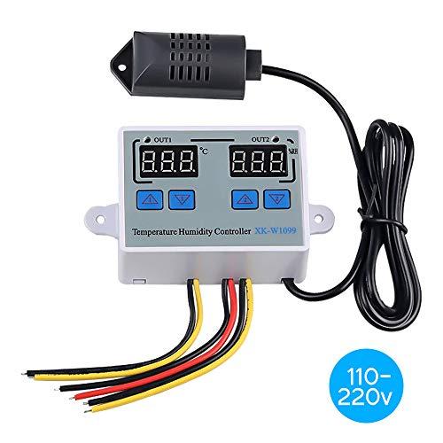 Leepesx Doppio regolatore digitale di umidità della temperatura Termostato per frigorifero domestico Umidostato Termometro Igrometro XK W1099 AC110