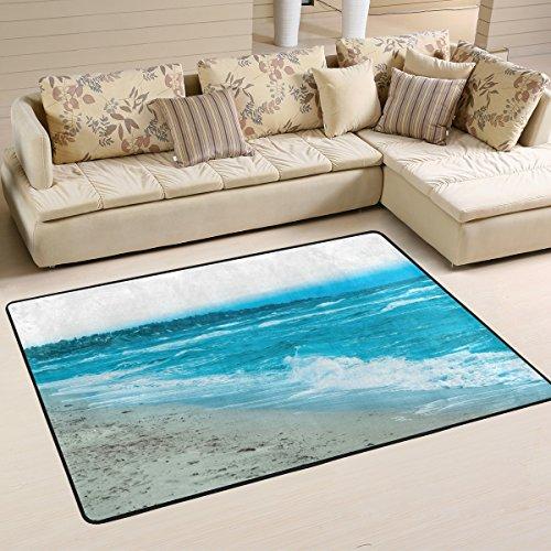 coosun Schöne blaue Farbe der Meer Wasser Wellen in Bereich Teppich Teppich rutschfeste Fußmatte Fußmatten für Wohnzimmer Schlafzimmer 182.9 x 121.9 cm, Textil, multi, 72 x 48 inch -