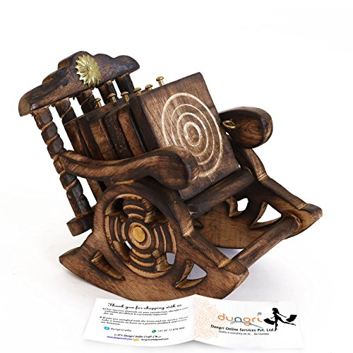 Dungri ® Handicraft Beautiful Miniature Rocking Chair Design Wooden Tea Coffee Coaster Set  available at amazon for Rs.299