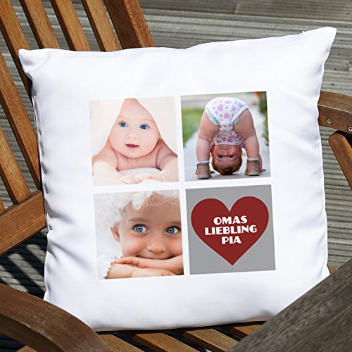 Herz & Heim® Fotokissen mit 3 Fotos und Wunschtext im Herz