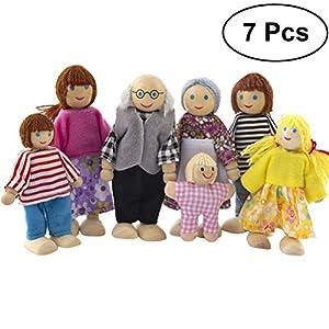 familia: TOYMYTOY 7pcs muñecas de madera de la familia fingen el juego de la familia de m...