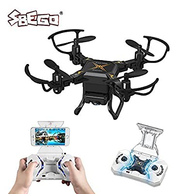 SBEGO RC Drone, 127W Foldable RC Quadcopter 2.4GHz 4 Chanel 6 Axis Gyro FPV RC Quadcopter Drone Wifi HD 0.3MP Camera Remote Control Mini Porcket Drone for Beginners (Black) from SBEGO