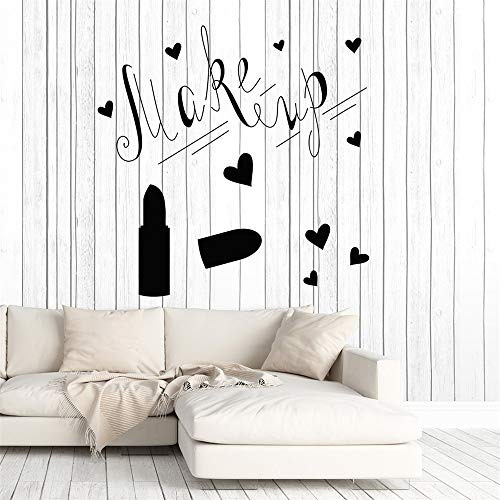 yiyiyaya Make Up Lippenstift Wandtattoo Girs Frau Schlafzimmer Dekoration Vinyl Aufkleber Beauty Salon Poster Tapete Home Ornament Wandbild grau 56x57 cm (56 57 Set Für Hp)