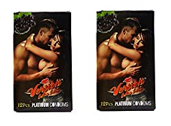 Version Male Condom Extra Love Dotted BlackCurrent Flavor Combo 2 Packets (24Pcs)