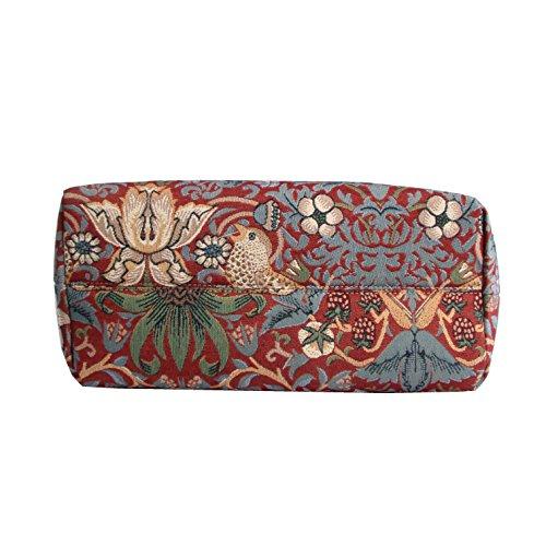 Borsa tote per Università donna di Signare a spalla in tessuto stile arazzo Ladro di fragole rosso