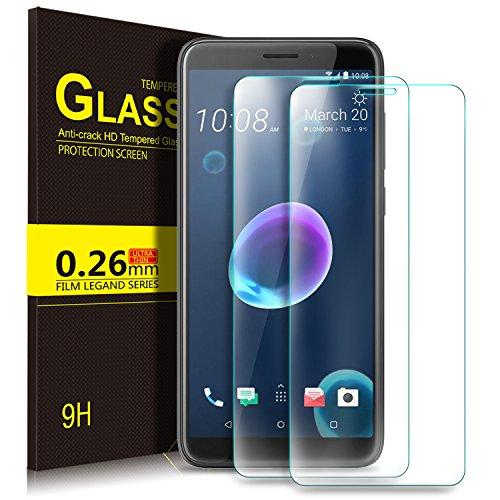 HTC Desire 12 Schutzfolie, KuGi 9H Panzerglas Hartglas Glas Display Schutzfolie [Blasenfrei] [HD Ultra] [Anti-Kratzer] Displayschutzfolie Displayschutz Screen Protector Für HTC Desire 12 smartphone. Klar [2 PACK]