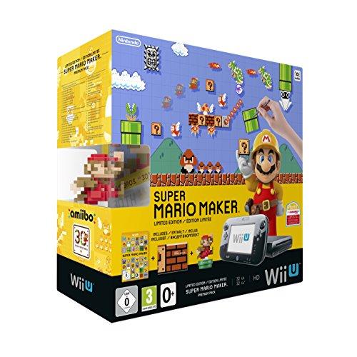 Nintendo Wii U Premium Pack schwarz, 32GB inkl. Super Mario Maker + Artbook + Amiibo