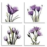 HLJ Art 4er Leinwand Set quadratisch 30x30 cm | Lila Violette Tulpen | Helle schöne Elegante Blumen Bilder | 4 Fotodrucke & Kunstdrucke in Farbe | Moderne Wohnzimmer, Schlafzimmer Wand Deko