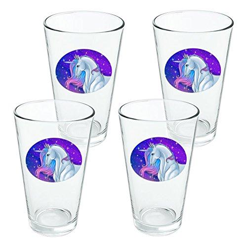 Majestic Licorne Rose Violet bleu fantaisie 453,6 gram Pinte à boire en verre trempé – Lot de 4