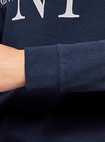 oodji Ultra Damen Bedrucktes Baumwoll-Sweatshirt Blau (7910P)