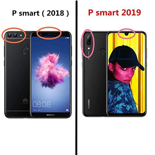 MLOTECH Coque pour Huawei P Smart 2019,Cover + Verre trempé Flip Clear View Translucide Miroir Cover Standing 360°Housse étui Antichoc Smart Cover Bumper Bleu Ciel