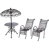 Lieblich MagiDeal 1/12 Puppenhaus Gartenmöbel   Miniatur Metall Tisch U0026 Stühle Set  ...
