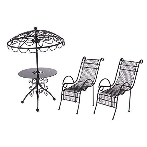 MagiDeal 1/12 Puppenhaus Gartenmöbel - Miniatur Metall Tisch & Stühle Set - 3 Stück/Set - Schwarz