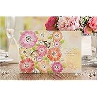 VStoy Laser Cut Fiore carte di nozze inviti con oro farfalla Festa di fidanzamento sposa Inviti doccia (20PCS)