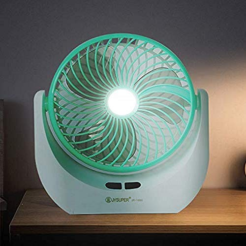 KLAY Led Light Multi Function Powerful Rechargeable Table Desk Fan - (MULTI COLOUR) Assorted