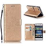 KATUMO® Schutzhülle P8 Lite, Handyhülle Hardcase PU Leder Tasche Handytasche Wallet Case Flip Cover für Huawei P8 Lite/ALE-L21 Schale, Gold