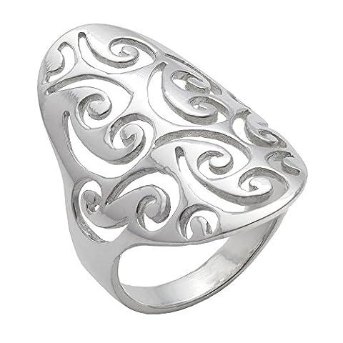 Silverly Women's .925 Sterling Silver Open Filigree Swirl Spiral Pattern