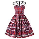 JUTOO Frauen Vintage Weihnachten Plaid Santa Claus Sheer Printed Lace Insert Swing Dress(Y1-rot,Large)