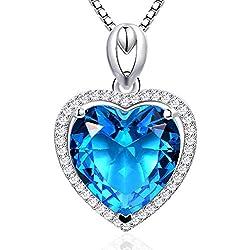 Femme Collier Coeur Argent Sterling Bleu Cristal Pendentif Colliers Bijoux