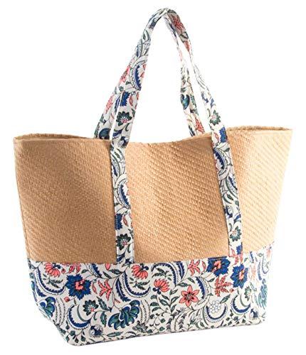 Item Bolso Lona Y Mimbre Flor 57x38x16 Cm Bolsa de Tela y de Playa, 57 cm, Colores