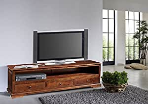 Meuble TV - Bois massif d'acacia laqué - Style colonial (Nougat) - OXFORD #439