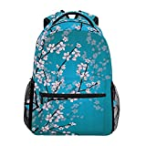 Hunihuni Cherry Blossom Durable Backpack College School Book Shoulder Bag Daypack for Boys Girls Man Woman