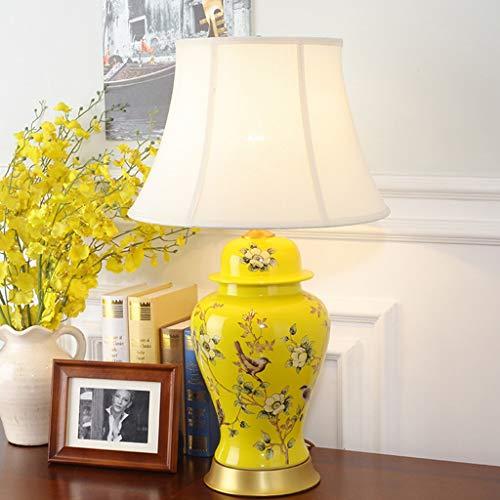 Chinesische Keramik Kupfer Basis Nachttisch Top Nachttisch Schreibtisch Kommode Licht Lampe Stoffschirm Passt Halle Wohnzimmer Hotel Blau Goldene E27 (Farbe : Yellow Base-Court Shaped Shade) -