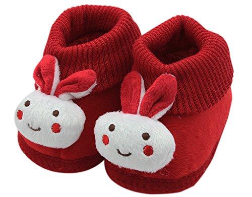 BONAMART ® Baby Junge Mädchen Karikatur Schuhe Anti Rutsch Winter Puschen 0-6M RoteKaninchen