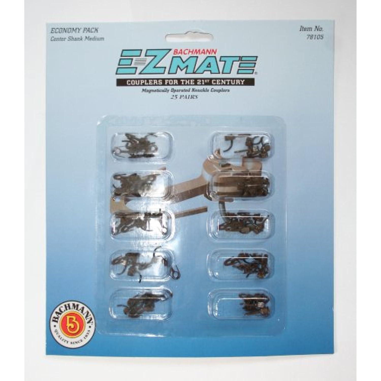 Bachmann Bachmann Bachmann Trains E – Z Mate Mark II magnétique Knuckle coupleurs en métal avec Ressort – Pack Economique – Centre Tige – Medium (25 Coupler Paires par Carte) – Échelle Ho 5e4540