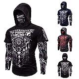 Elastisch Fitness Heren Outdoor Fake tweedelige Cyberpunk Ninja Suit Hooded Mask Riding T-shirt Slim Jogger Bodybuilding met lange mouwen Personality Coat (Color : Zwart, Size : M)