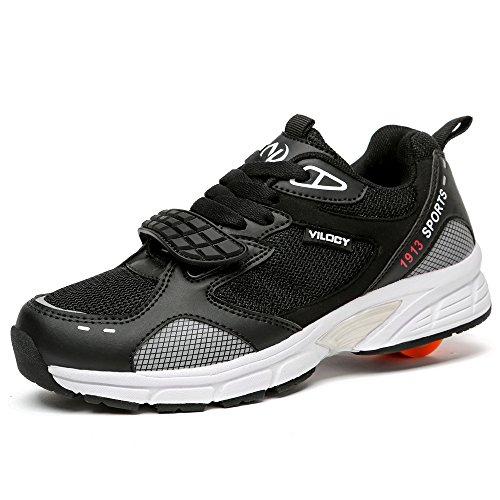 Vilocy Jungen Lauflernschuhe Sneakers Rollschuh Sneakers Schwarz