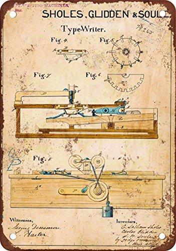 metal Signs 1868Schreibmaschine Patent Vintage Look Reproduktion Metall blechschild 30,5x 45,7cm 2 - Patent-metall