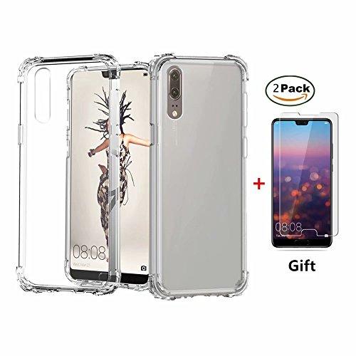 Huawei Honor 8X Hülle Fanxwu Klar Transparent Weich TPU Silikon [2*Hartglas Glas Bildschirm Schutzfolie] Luftkissen-Design Schutzhülle Anti-Kratzer Schützend Case