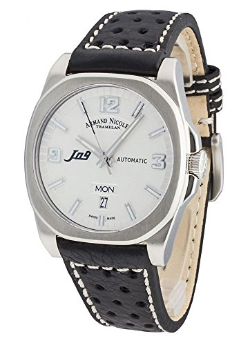 Armand Nicolet Men's J09 39mm Leather Band Automatic Watch 9650A-AG-P660NR2
