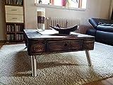 """Couchtisch Palettenmöbel """"Vittoria"""" aus Paletten mit Edelstahlfüßen und einer durchgehenden Schublade"""
