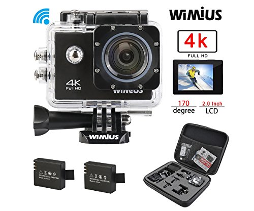 Camera Sport, WiMiUS Q1 Action Cam 4k Full HD 16MP WIFI Etanche 40M, Camera Embarquée Sport 170° Grand Angle Kit d'accessoires + 2 Batteries (Noir)