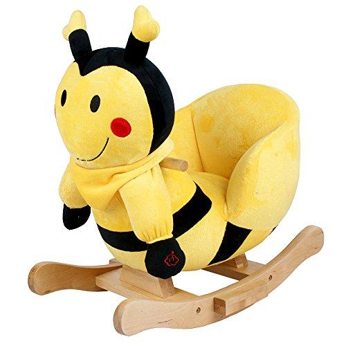 Plüsch Schaukeltier Biene Bill mit Musik, Kufen und Griffe aus Holz ab 18 Monate
