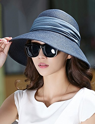Été chapeau de paille chapeau de marée été chapeau de soleil pliable chapeau de crème solaire Big Hat ( Couleur : 1 ) 2
