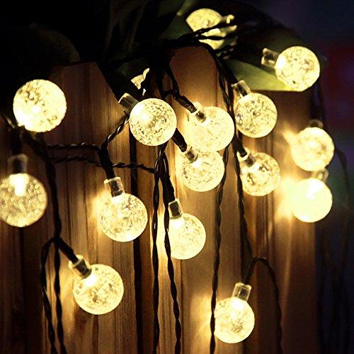 Lumière solaire extérieure de boules de cristal, 19.7 pi 30 LED blanc chaud, imperméable Lumières colorées de bulles globulaires de patio pour le chemin de jardin, la partie, la décoration de plate-forme de yard (blanc chaud)