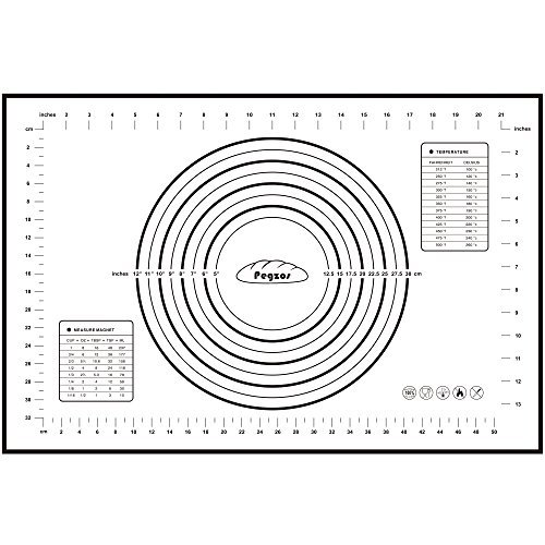 kon Nonstick Backmatte - Fondant Gebäck Teigmatte, (80*60cm, 60*40cm) (Schwarz-Weiss, Groß) ()