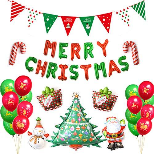 ICheap Weihnachten Deko Ballons Set, Merry Christmas Luftballon Dekoration, Weihnachtsmann Ballons Perfekte Deko Weihnachtsballons für Zuhause und Büro