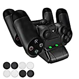 PECHAM PS4 Gaming Caricabatteria Doppio Dual Docking Stations per Playstation 4 Controller gamepad con LED
