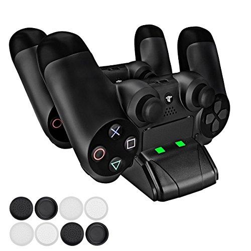 PECHAM Mini cargador para DualShock 4 con LED - Estación de carga USB para...