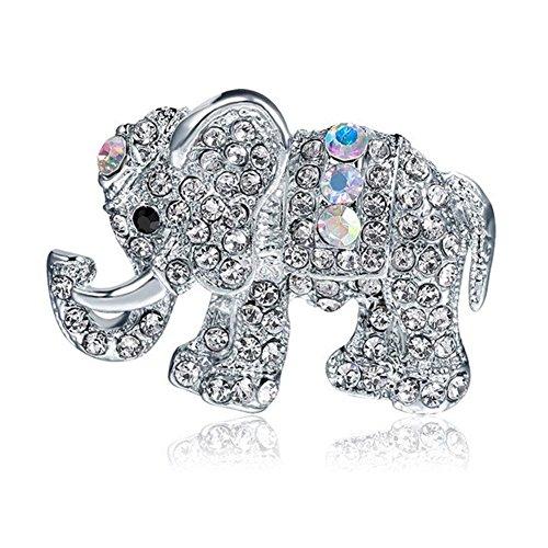 Mackur Frauen Brosche mit Fashion Persönlichkeit Elefant Pin Strass Schals Schal Clip 1Stück