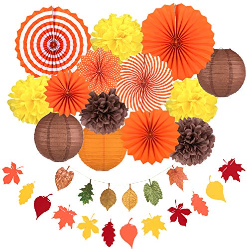Whaline Fall Party Decorations, Orange Hanging Paper Fans Fall Paper Pompoms Paper Lanterns Maple Leaves Bunting Garlands for Autumn Celebration, Thanksgiving Party, Birthday Decor (16 Pcs)