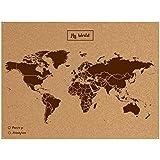 Miss Wood Woody Map L - Mapa del mundo de corcho con diseño My world , color marrón