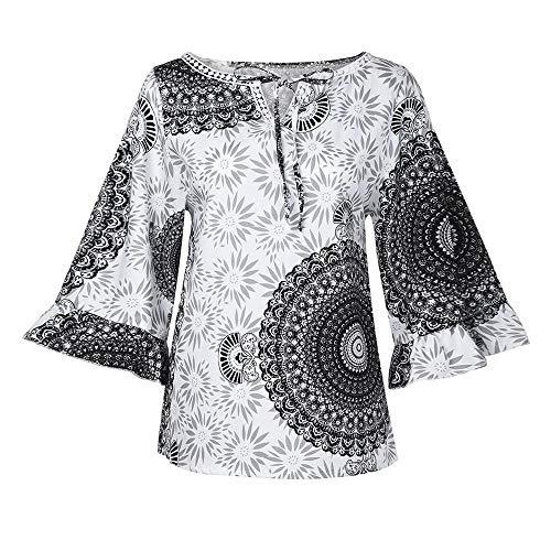 Frauen Mode Blemdruck 3/4 Aufflackernhülse Bluse Top Plus Größe Verlieren T-Shirt- Oversize Sweatshirt Oberteil-Langarm Blusen-Sommer und Herbst Damen Pulli Langarm T-Shirt(Weiß,2XL)